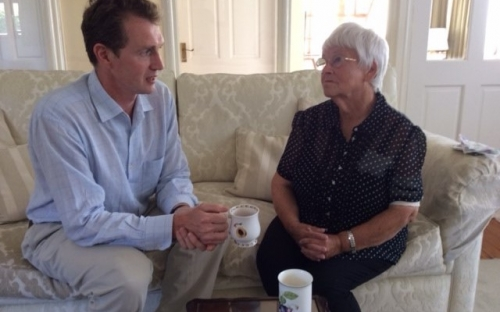 David visits cancer patient Ann Wilkinson at her home in Usk