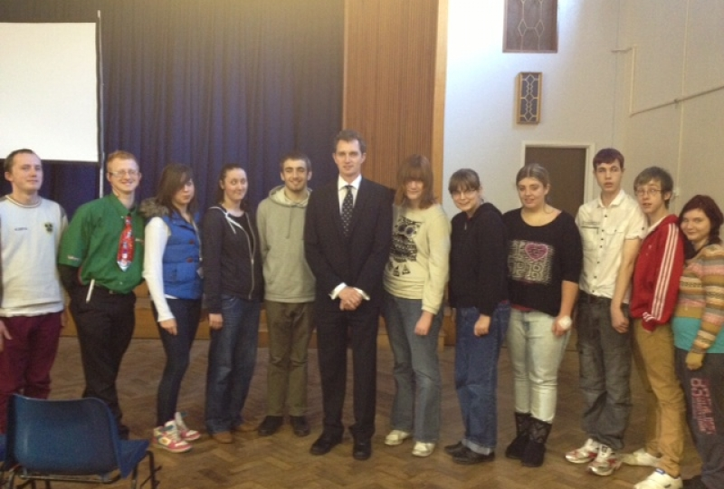 David with ILS students from the Usk campus of Coleg Gwent