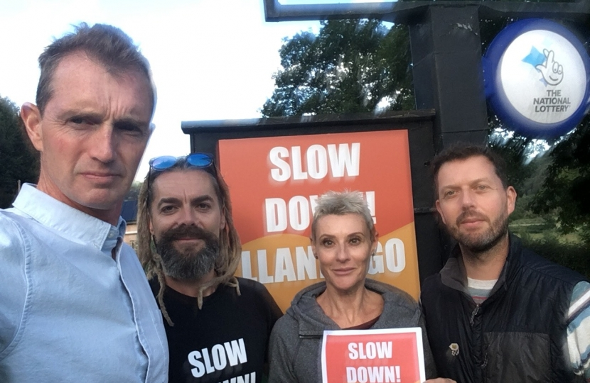 Monmouth MP David Davies with Llandogo residents Justin, Mel and Phil