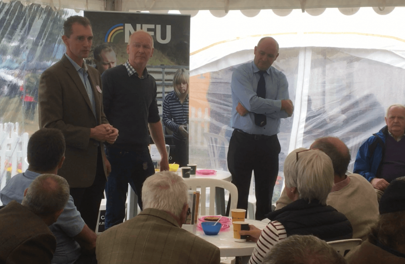 Monmouth MP David Davies meeting with the NFU at the Usk Show