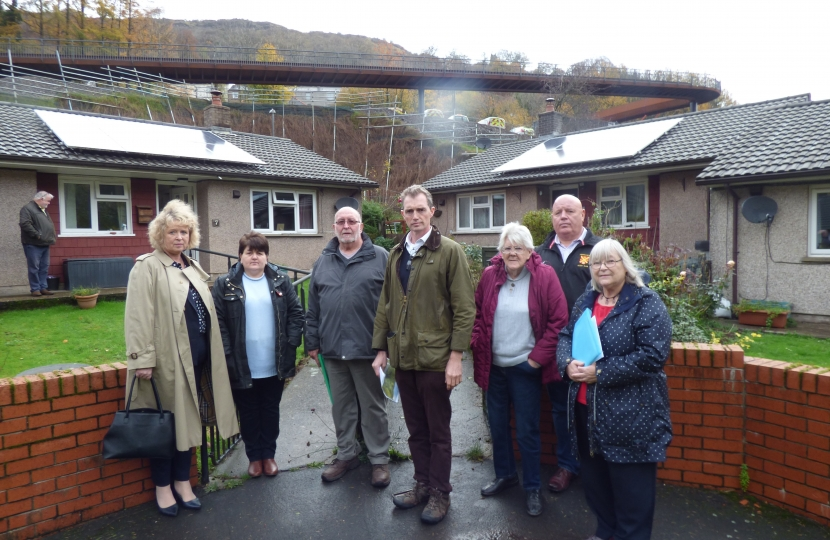 David Davies MP, C. Cllr. Jane Pratt with concerned residents in Clydach.