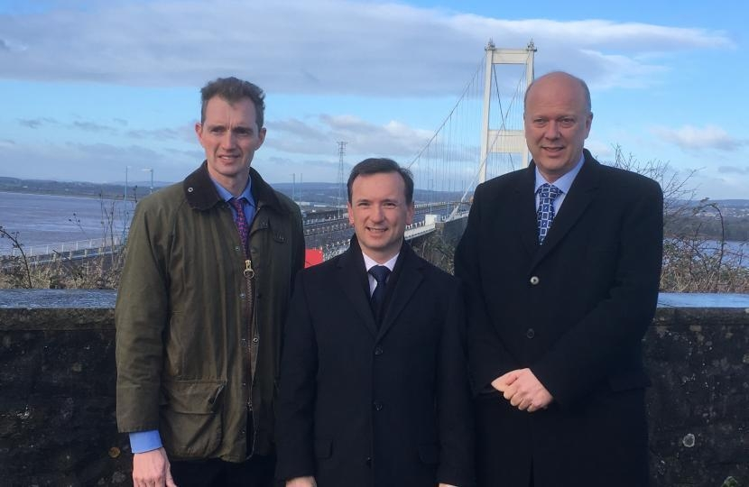 David with Alun Cairns, Secretary of State for Wales, and Chris Grayling, Secretary of State for Transport, at the Severn crossing.
